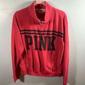 PINK | Pink Half Zip Sweatshirt w/ Pockets | Sz L